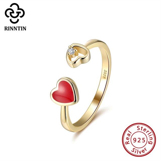 Rinntin 100% 925 スターリングシルバー、黒、赤ハートエナメルaaaaジルコン調整リングジュエリーアクセサリー女性のためのTEQR04