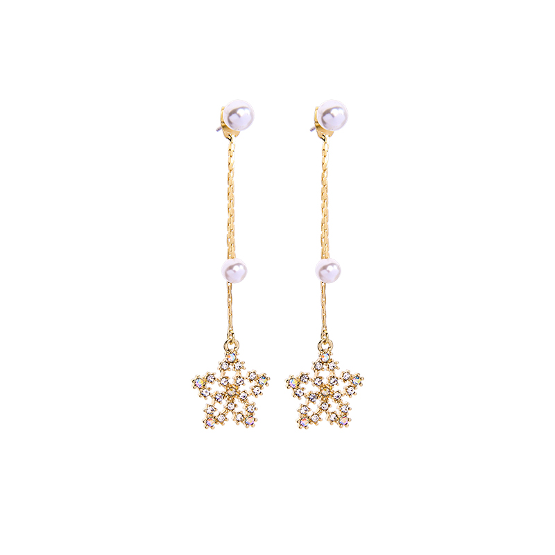 Crystal Snow Imitation Pearl Drop Earring For Women Handmade Gold Color Crystal Star Earring Wedding Gift