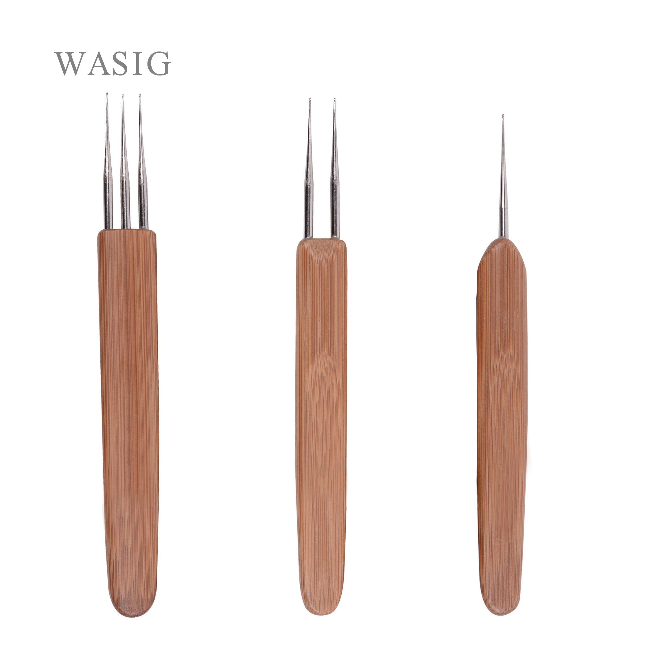 Bamboo Crochet Needle For Hair Dreadlock Accessories Wig Making Tools Dreadlocks Hook Needles 1/2/3 Hooks