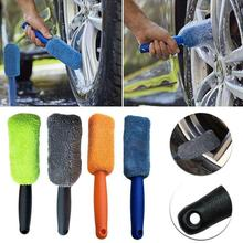 car wash Portable Microfiber Wheel Tire Rim Brush Car Wheel Wash Cleaning For Car With Plastic Handle Auto Washing Cleaner Tools cheap CN(Origin) 27cm PP+Microfiber Car Wheel Brush 27cm*5cm Blue Green Gray Orange Car cleaning tool Car accessories Handle brush