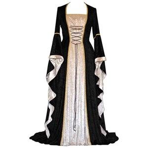 Image 4 - 새로운 중세 드레스 할로윈 의상 여성을위한 코스프레 궁전 고귀한 긴 가운 고대 벨 슬리브 공주 의상 드레스