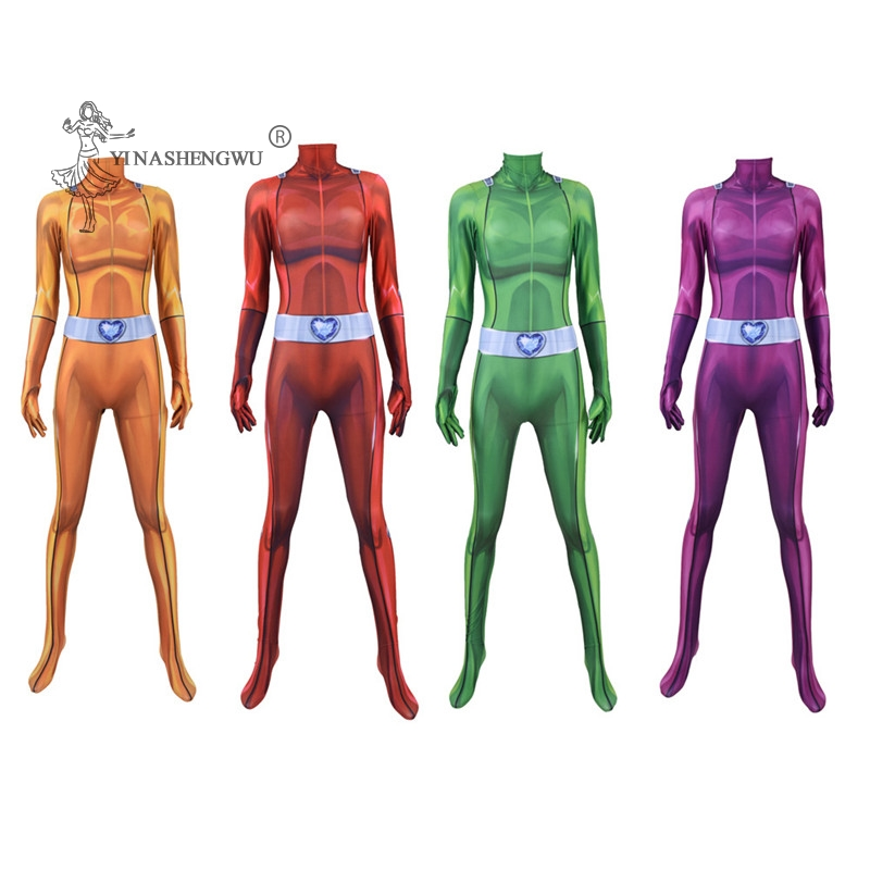Kids Cosplay Costume Totally Spies Anime Clover Sam Alex Bodysuit Cosplay Costumes Zentai Jumpsuits Halloween Women Girls Suits