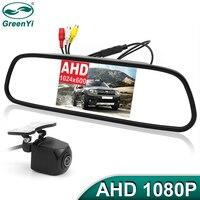 GreenYi 1920*1080P AHD 5 zoll Auto Rückspiegel Monitor 170 Grad Sternenlicht Nachtsicht Fahrzeug Rückansicht reverse Kamera