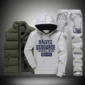 Image 2 - 3 個フード付き冬スーツ男性セット厚く暖かいベストパーカーパンツスーツジッパースポーツウェアセットメンズジョガーパーカースポーツスーツ