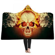 Hooded Blanket for Adult Microfiber Galaxy Bedding Throw In Cap Warm Gothic Colored Skull Sherpa Wearable