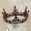 Стразы в стиле барокко для женщин, Черные Свадебные короны для невесты, аксессуары для волос, Блестящий Шарм, короны королевы бала AIC88