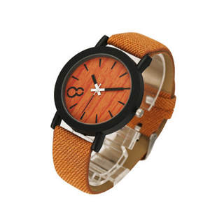 2018 new product sales simulation wooden quartz female leisure color leather strap wooden man made watches