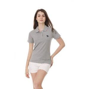 Новая Брендовая женская футболка с короткими рукавами из 100% хлопка с отворотом, Повседневная тонкая рубашка-поло, футболка, одежда, футболк...
