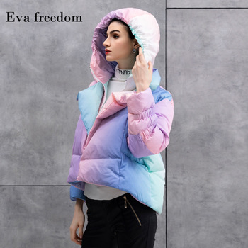 2019-2020 winter warm down jacket hooded women iridescence literary fashion lovely girls short down coat hooded AC1066 1