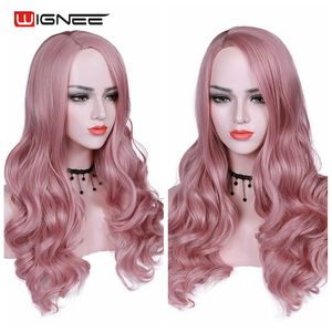 Image 4 - Wignee Pink Hair Long Wavy Wigs Heat Resistant Synthetic Wig For Women Daily/Party Natural Black to Brown/Purple/Ash Blonde Wig
