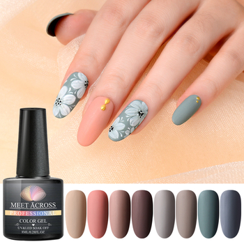 MEET ACROSS Matte UV Gel Nail Polish Semi Permanent  Soak Off Nail Art Gel Varnish Lacquer Matte Top Coat Needed 1