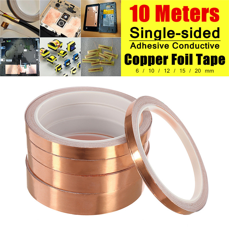 10M 6/10/12/15/20mm EMI Shield Eliminate EMI Anti-static Tape Single-sided Adhesive Conductive Copper Foil Tape Guitar Pickup