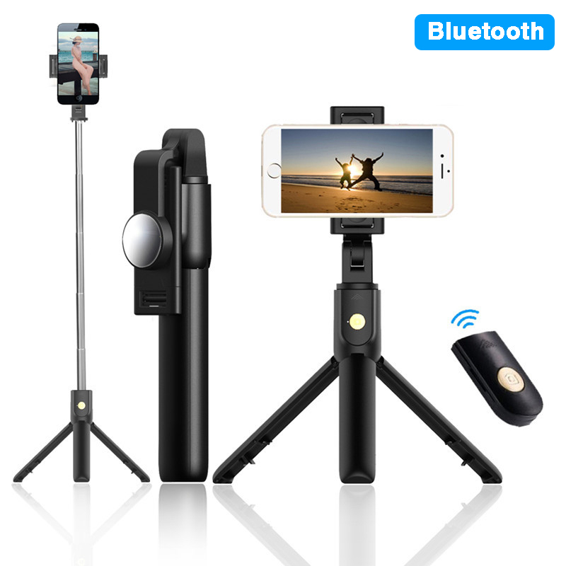 Foldable Bluetooth Sefie Stick With Mirror Handsfree Phone Holder Selie Stock With Tripod Holder Remote Control Selfiestick