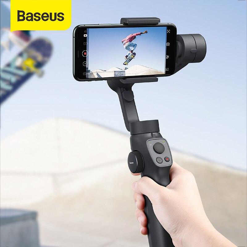 Baseus handheld cardan estabilizador 3-axis sem fio bluetooth telefone cardan titular rastreamento de movimento automático câmera de ação foriphone