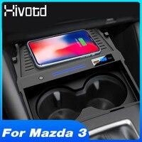 Hivotd-cargador inalámbrico QI para coche Mazda 3, 2019, 2020, 2021, Axela, accesorios, soporte de Teléfono DE CARGA RÁPIDA, placa de carga modificada
