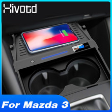 Hivotd Car QI Wireless Charger For Mazda 3 2019 2020 2021 Axela Accessories Fast Charging Phone Holder Charging Plate Modificate