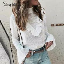 Simplee elegante babados blusa de algodão feminino pescoço bordado feminino outono camisas de manga longa escritório senhoras branco topos