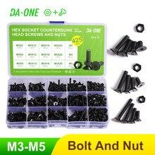 425-pces m3 m4 m5 hex soquete de alta qualidade preto cabeça plana parafusos escareados parafuso porca sortimento kit-10.9 grade liga de aço conjunto