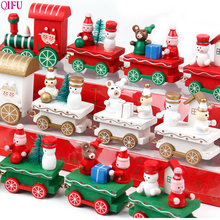QIFU Christmas Train Decorations For Home 2019 Navidad Christmas Ornaments Table Decorations Happy New Year Christmas Gifts 2020 4 section little train christmas ornaments