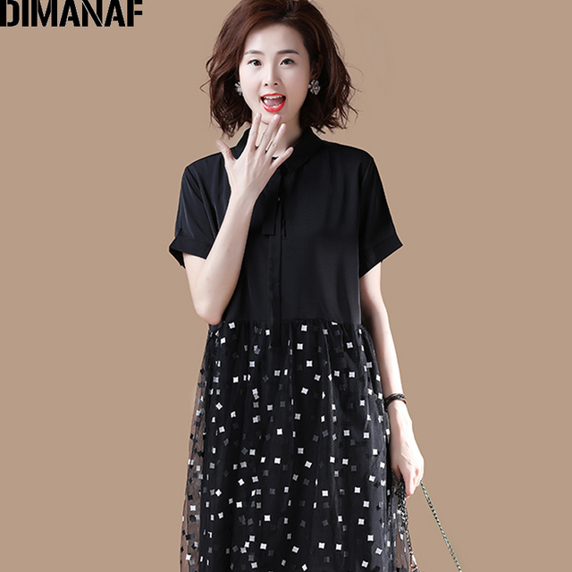 DIMANAF Plus Size Dress Women Clothing Summer Mesh Plaid Spliced Loose Female Office Lady Sundress Vestidos Black Shirt Dress 3
