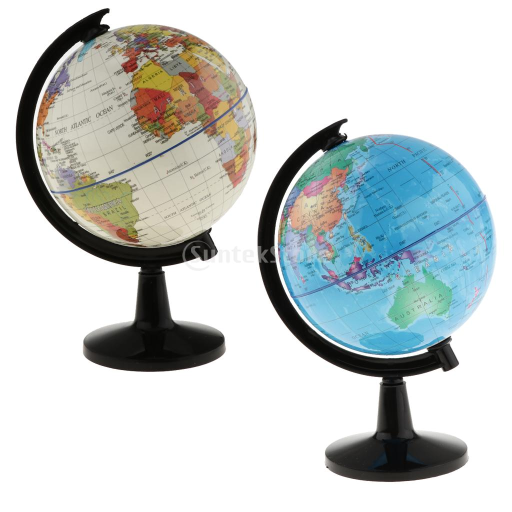 Blue World Globe with Stand for Home Office Decor School Science Educ 16cm