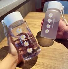 500ml pequena margarida garrafas de água de plástico transparente bpa livre criativo fosco garrafa de água com corda portátil viagem xícara de chá