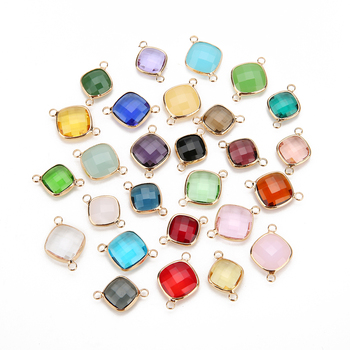 Square Edging Double Holes Glass Pendants Accessories DIY Jewelry For Necklace Earrings Bracelets Bijoux Findings