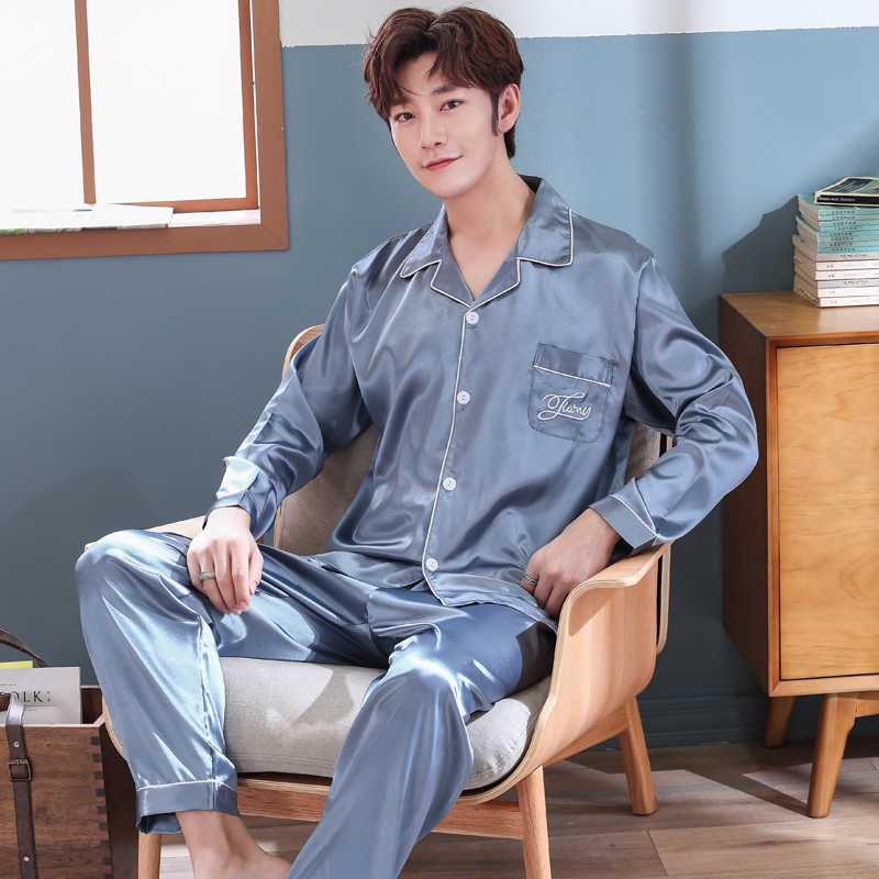 Autumn Winter Silk Men's Pajamas Set Male Pajamas Sets Simple Men Sleepwear Mens Long Sleeve Nightwear Solid Leisure Pyjamas Set