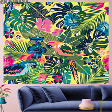 цена Rainforest parrot Tropical plants Tapestry Vintage macrame painting retro flower Wall Hanging mandalas home decor GN.PAPAYA онлайн в 2017 году