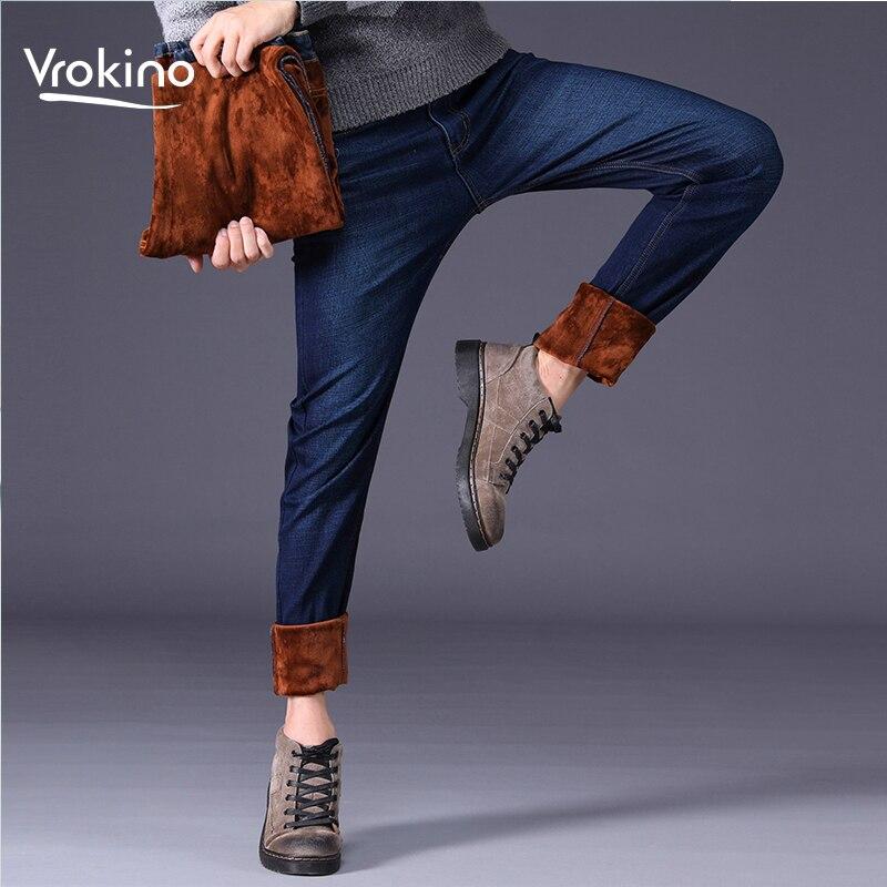 2019 New Fashion Winter Stretch Plus Velvet Jeans Men's Business Casual Thick Warm Slim Pants Winter Black Blue Blue Jeans