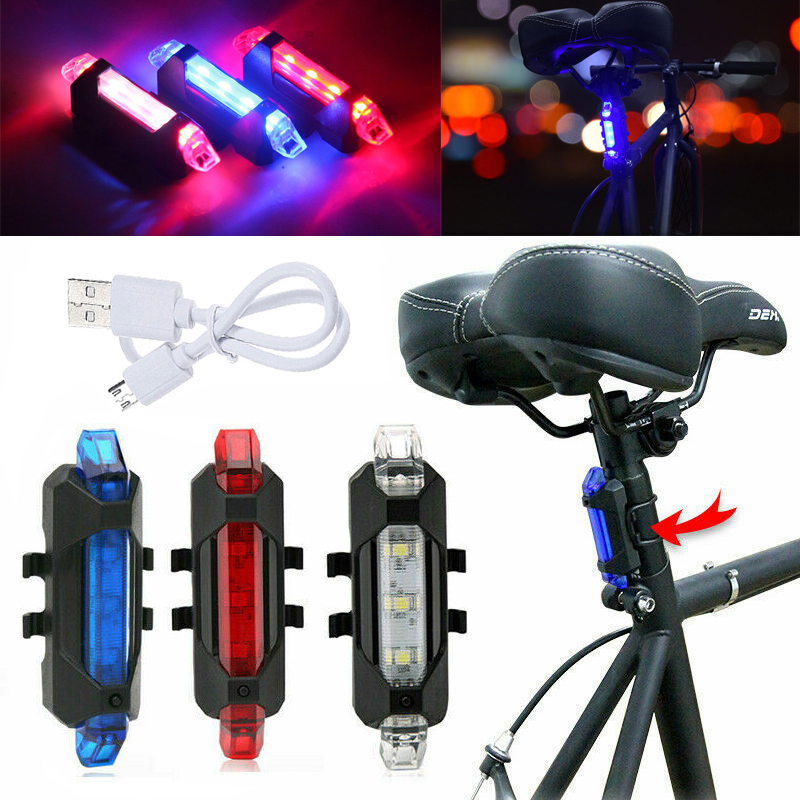 Bike Bicycle LED Rear Light USB Rechargeable Safety Warning Rear Signal Light US