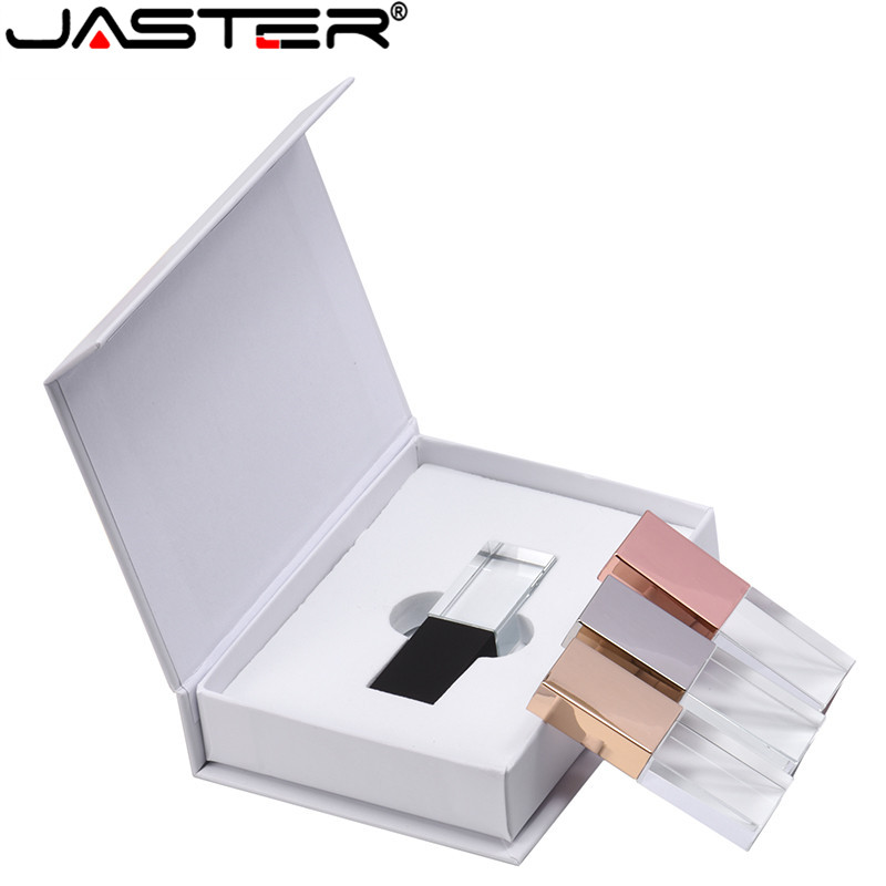JASTER New Custom LOGO Crystal Usb 2.0 Memory Flash Drive With Gift Box 2GB 4GB 8GB 16GB 32GB 64GB(Over 10pcs Free Logo)