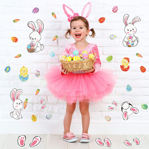Image 4 - 2021 Easter Window Stickers Bunny Egg Carrot Stickers Decal Happy Easter Decor for Home Xmas New Year Party Self Adhesive Tattoo