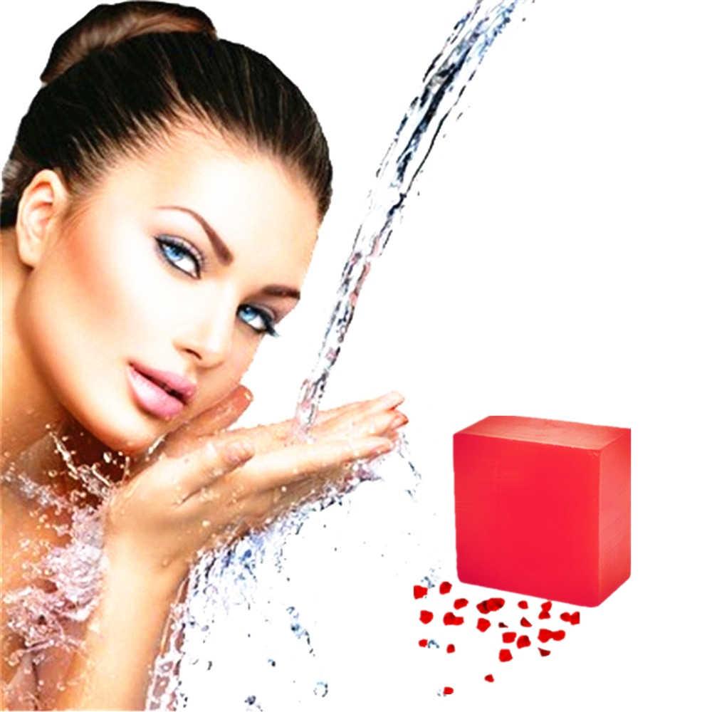 Jabón de hierba vegetal antiinflamatorio y bactericida mata la piel ácaros íntimo blanqueamiento privado enzima cristal Rosa esencia jabón