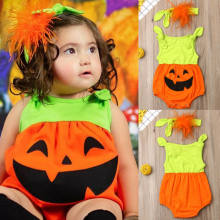 Newborn Baby Kids Girl Halloween Clothes Sleeveless Pumpkin Romper Headband Jumpsuit Outfit Costume(China)