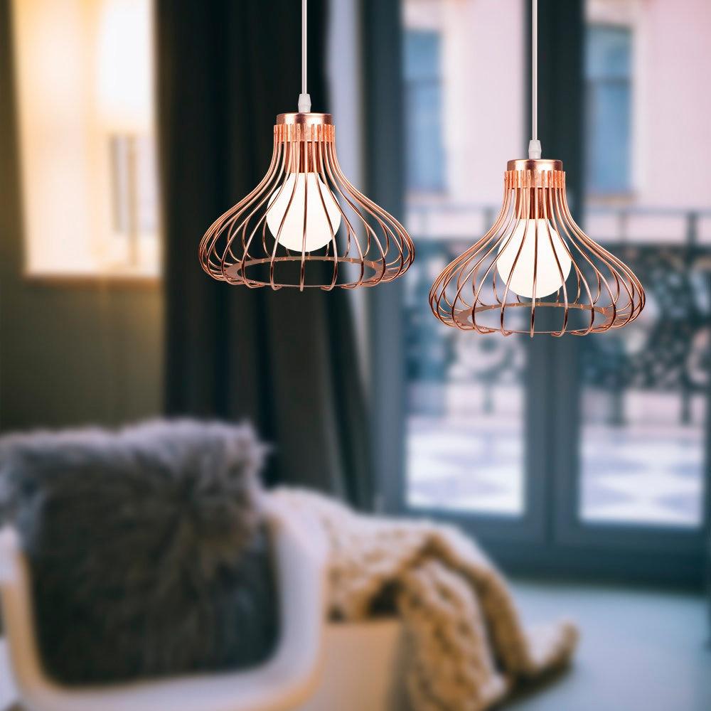 Luminária pendente retrô de ferro, lâmpada industrial