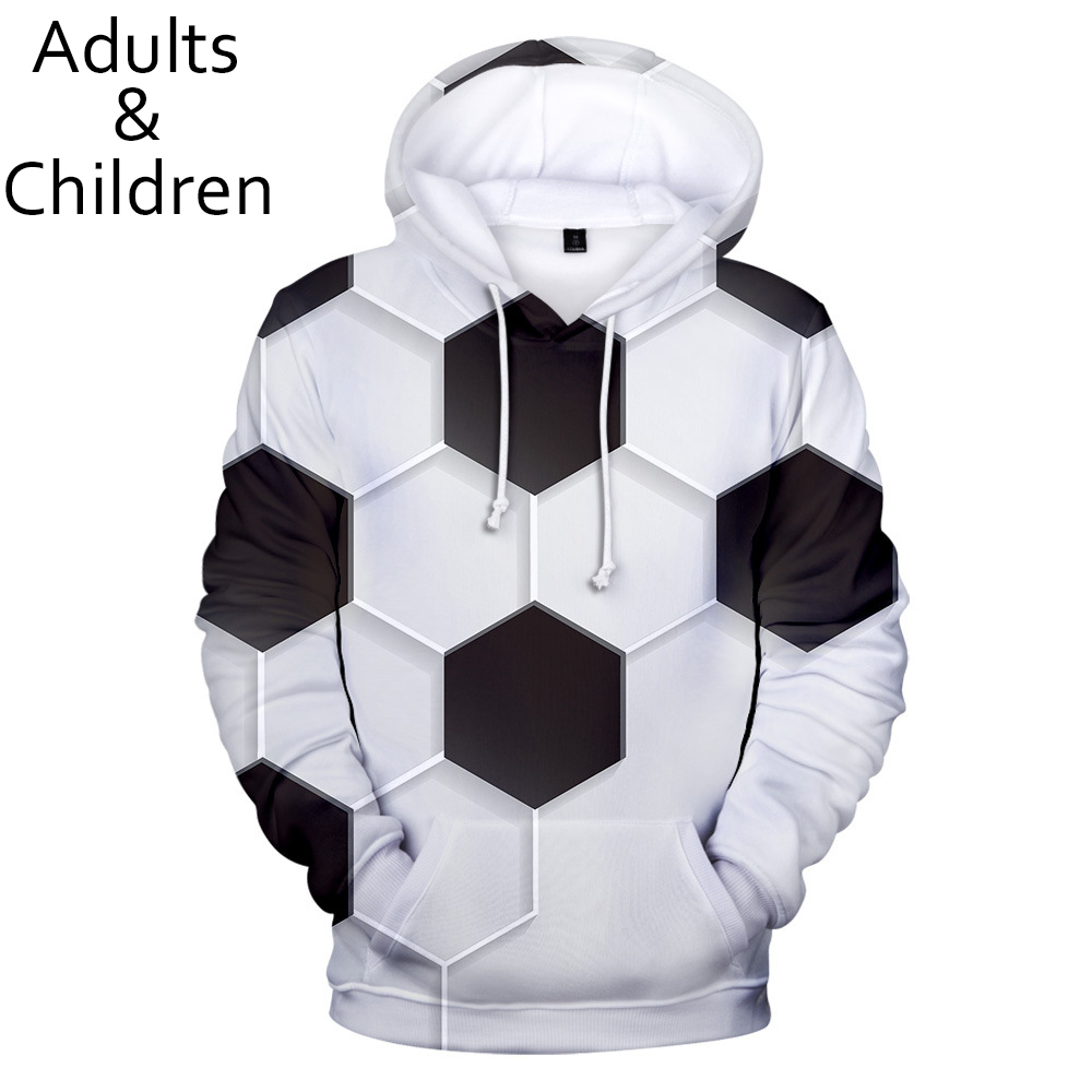 Hot Autumn 3D Football Soccer Hoodies Men Women Sweatshirts New Kids 3D White+black Hoodie Suitable Boys Girls Casual Pullovers