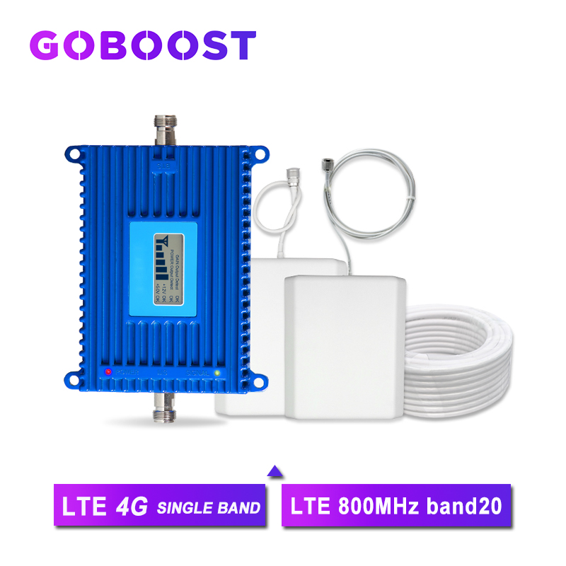 LTE 4G Signal Booster 70dB High Gain Band20 800 Cellular Cellpnhone Communication Amplifier Kit Repeater 4G Network AGC Antenna>