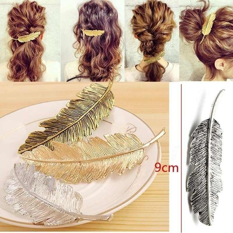 ใหม่ Leaf Feather Hair Clip Hairpin Barrette Bobby Pins ผู้หญิงผม Accseeories