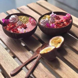 Coconut-Bowl Spoon Decoration Handicraft Fruit-Salad Wooden Natural Creative