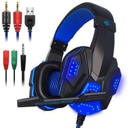 Проводные наушники переключатель компьютер профессиональный бас геймер для PS4 переключатель Xbox игровая гарнитура с микрофоном светодиодн...