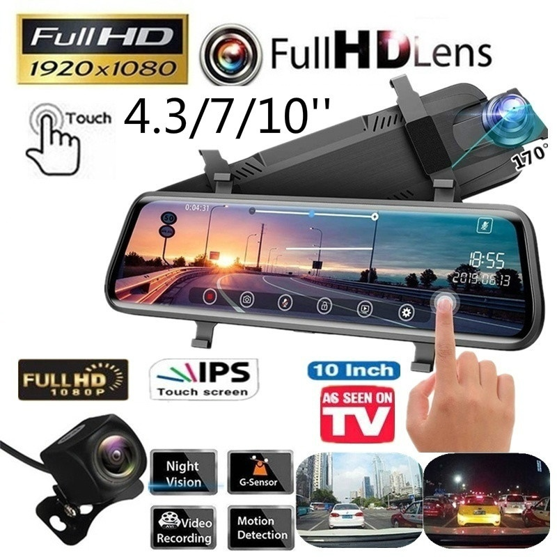 Car DVR Camera Video-Recorder Rear-View-Mirror-Cameras Dash-Cam Touch-Screen Car-Security