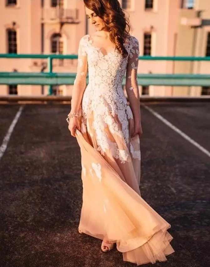 ארוך שרוולים בציר שמלת כלה שמפניה טול שנהב תחרה המדינה 2019 בוהמי חתונת שמלות חוף קבלת כלה שמלות
