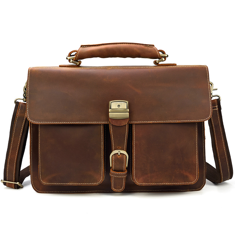 Solid Men Vintage Genuine Leather Real Leather Bag  Leather Briefcase 14inch Laptop Briefcase For Men