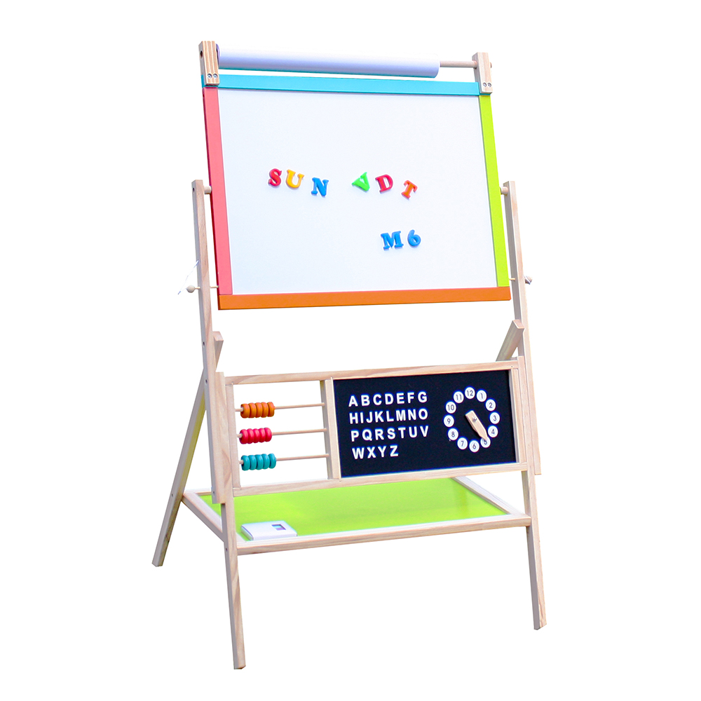 All-in-One Multifunction Wooden Kid's Art Education Easel with Accessories With blackboard/color chalk 5-piece set New Arrival