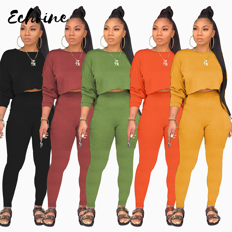 Solid Color Women's Set Long Sleeve Sweatshirts Pencil Pants Suit Two Piece Set Elegant Sporty Tracksuit Outfit Plus Size XXL