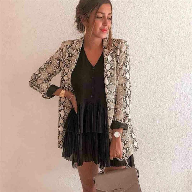 Frauen Damen Schlangen Langen Hülse Anzug Strickjacke Mantel Büro Jacke Sexy Schlange Muster Leopard Mantel