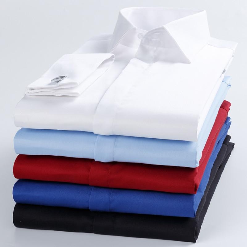 Image 5 - High Quality Men French Cufflinks Shirt Slim Fit Cotton Shirt Men  Long Sleeve Business Suits Wedding Party Free Lroning ShirtsDress  Shirts