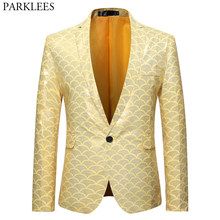 Shiny Gold Fish Scale Glitter Suit Jacket Men One Button Slim Fit Yellow Dress Blazers Mens Party Stage Prom Blazer Masculino(China)