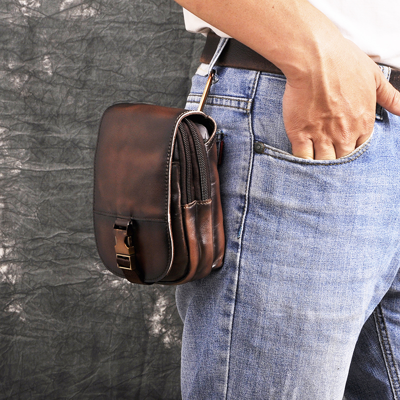 Design Mens Original Quality Leather Small Travel Phone Pouch Hook Belt Fanny Waist Pack Bag High Fashion Male Case 6185-dc